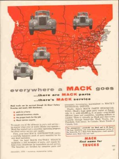mack trucks 1956 everywhere parts service direct factory vintage ad