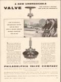Philadelphia Valve Company 1956 Vintage Ad Unbreakable Asphalt Resins
