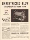 philadelphia valve company 1956 unrestricted flow hose reel vintage ad