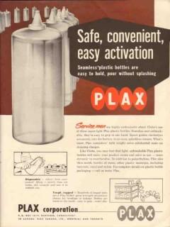 plax corp 1956 safe convenient seamless plastic bottles oil vintage ad