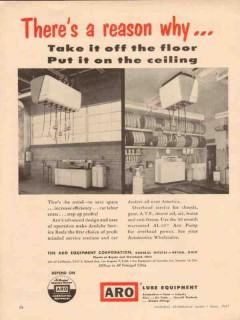 aro equipment corp 1957 aerolube floor ceiling service lube vintage ad
