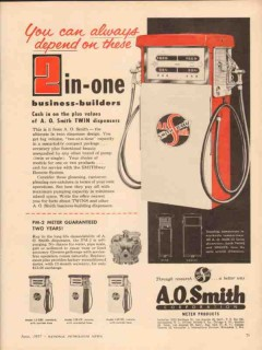 a o smith corp 1957 depend 2 in-one twin gasoline dispenser vintage ad