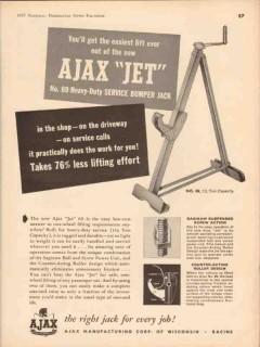ajax mfg corp 1957 jet heavy-duty service bumper jack vintage ad