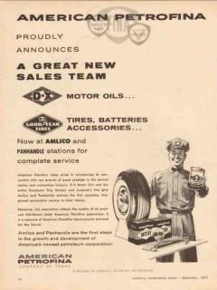 American Petrofina Inc 1957 Vintage Ad D-X Motor Oil Goodyear Tires