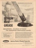 American Potash Chemical Corp 1957 Vintage Ad Oil Lithium Base Grease