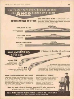 anderson company 1957 profits sell anco wiper blades arms vintage ad