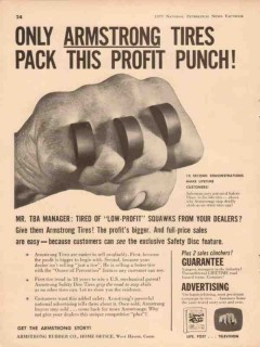 armstrong rubber company 1957 tires pack profit punch sales vintage ad