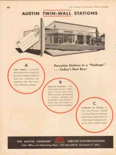 austin company 1957 twin-wall service stations porcelain vintage ad