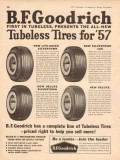 b f goodrich 1957 deluxe silvertown all-new tubeless tires vintage ad