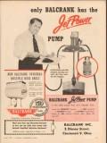 balcrank inc 1957 jet power pump oil lubrication equipment vintage ad