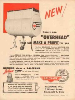 balcrank inc 1957 overhead profit oil lubrication equipment vintage ad