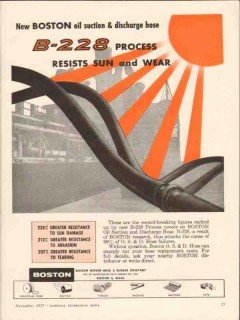 Boston Woven Hose Rubber Company 1957 Vintage Ad Oil Suction Discharge