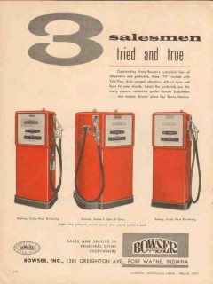 bowser inc 1957 salesmen reelway siamese rolway gas pumps vintage ad