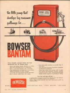 bowser inc 1957 bantam industry farm fleet gasoline pump vintage ad