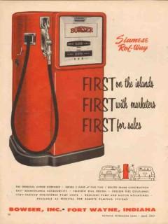bowser inc 1957 first islands siamese rol-way gasoline pump vintage ad