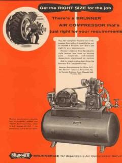 brunner mfg company 1956 right size air compressor vintage ad
