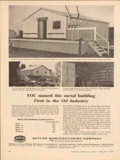Butler Mfg Company 1957 Vintage Ad Oil Industry Metal Building First