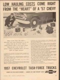 chevrolet 1957 low hauling costs heart chevy truck vintage ad