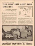 chevrolet 1957 clean living longer engine life chevy trucks vintage ad