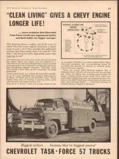 chevrolet 1957 clean living longer engine life chevy trucks vintage ad