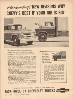 chevrolet 1957 announcing new reasons best job chevy truck vintage ad