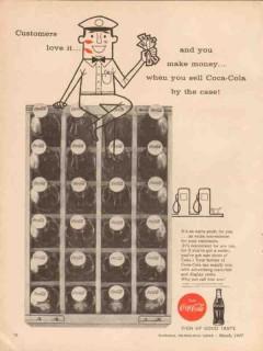 coca-cola company 1957 service station money sell case coke vintage ad