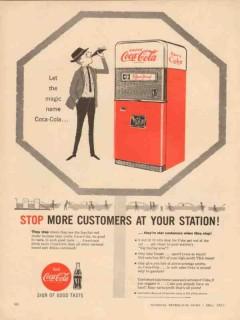 coca-cola company 1957 stop customers service station coke vintage ad