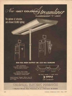 colonial neon company 1957 streamliner fluorescent t light vintage ad