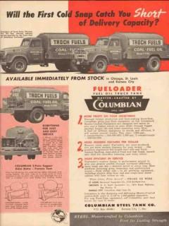 columbian steel tank company 1957 troch fuels oil trucks vintage ad