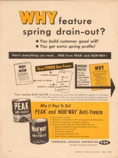commercial solvents corp 1957 peak anti-freeze drain-out vintage ad