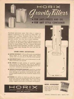 Horix Mfg Company 1957 Vintage Ad Oil Can Gravity Fillers Anti-Freeze