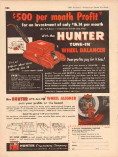 hunter engineering company 1957 tune-in wheel balancer vintage ad