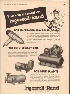 ingersoll-rand 1957 increased tba sales service stations vintage ad
