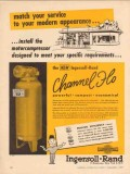 ingersoll-rand 1957 channel-flo motorcompressor service vintage ad
