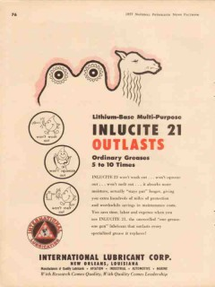 International Lubricant Corp 1957 Vintage Ad Inlucite Greases Outlasts