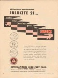 International Lubricant Corp 1957 Vintage Ad Inlucite Grease Longer