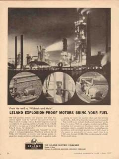 Leland Electric Company 1957 Vintage Ad Explosion-Proof Motors Fuel