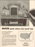 mack trucks 1957 parts when needed everywhere service vintage ad