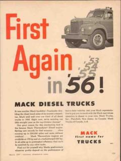 mack trucks 1957 first again 56 landslide thermodyne diesel vintage ad
