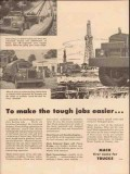 mack trucks 1957 tough jobs easier heavy duty hauling pipe vintage ad