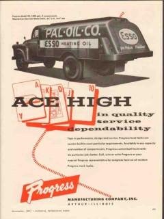 progress mfg company 1957 pal oil co ace high tank truck vintage ad