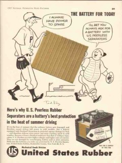 united states rubber company 1957 ted key battery separator vintage ad