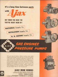 Ajax Iron Works 1955 Vintage Ad Time Parts Gas Engines Pressure Pumps