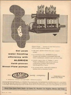 Aldrich Pump Company 1955 Vintage Ad Peak Water Flooding Direct Flow