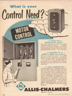 allis-chalmers 1955 electric fractional motor control need vintage ad