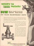 Alco Products Inc 1955 Vintage Ad Oil BIW Non-Lubricated Gate Valves