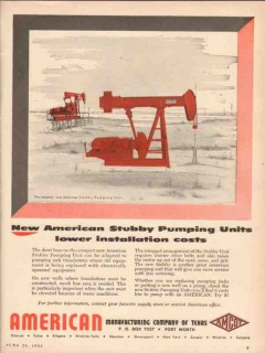 American Mfg Company TX 1955 Vintage Ad Oil Stubby Pumping Units