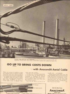 Anaconda Wire Cable Company 1955 Vintage Ad Electrical Aerial Costs