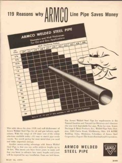 Armco Steel Corp 1955 Vintage Ad Reasons Line Pipe Saves Money Welded