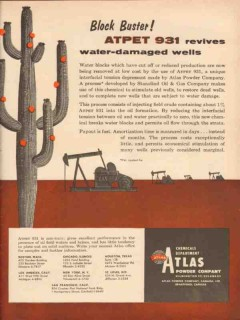 Atlas Powder Company 1957 Vintage Ad ATPET 931 Revives Damaged Wells